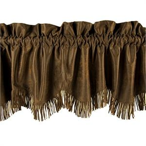 Distressed Faux Leather Chocolate Mocha Valance w/Fringe