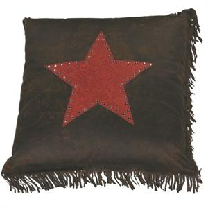 Cheyenne Faux Tooled Leather and Fringe Star Pillow Red
