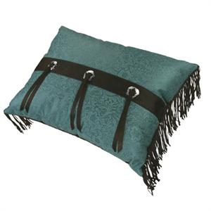 Cheyenne Faux Tooled Leather and Fringe Concho Pillow Turquoise