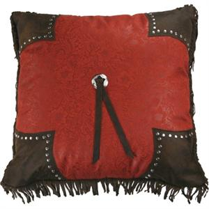 Cheyenne Faux Tooled Leather and Fringe Pillow Red