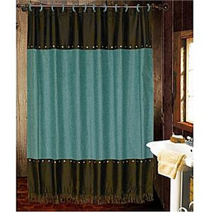 Cheyenne Faux Tooled Leather and Fringe Shower Curtain Turquoise