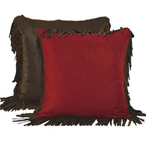 Red Rodeo Red Suede Fringed Euro Sham (1)