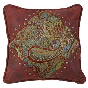San Angelo Paisley and Red Faux Leather Throw Pillow