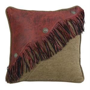 San Angelo Faux Red Leather Fringe Throw Pillow