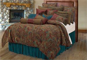 San Angelo Comforter Set With Teal Bedskirt Full