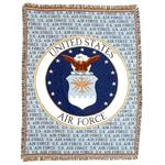 U.S. AIR FORCE & AIR FORCE Emblem Throw Blanket