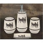 Western Bath Decor Running Horses 4pc Bath Set