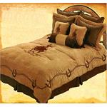 Bull Riding Embroidered Comforter Set-Super King