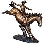 Large Bronze Western Cowboy Bronco Rider Sculpture