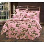 Hunters Pink Oak Camo Comforter Set Queen