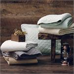 Diamond Pattern Linen Quilt Cream