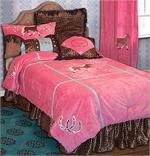 Cowgirl Leopard Plush Pink Comforter Set Full
