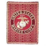 U.S. MARINES & MARINES Emblem Throw Blanket