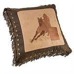 Barrel Racer Embroidered Throw Pillow