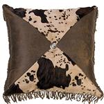 Caldwell Diamond Faux Cowhide Western Decor Pillow