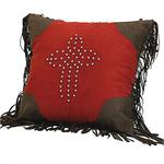 Red Rodeo Red Studded Cross Pillow