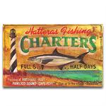 HATTERAS CHATERS Vintage Wood Advertising Sign