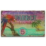 PARROT LOUNGE Vintage Wood Sign