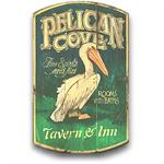 PELICAN COVE Vintage Wood Sign
