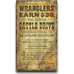 Wrangler Vintage Western Decor Wood Sign