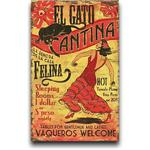 EL Gato Cantina Vintage Wood Sign