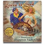 LEARN TO SAIL Vintage Wood Advertising Sign