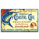 COASTAL CAFE Vintage Wood Advertising Sign