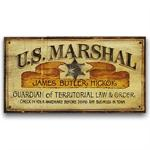 US Marshal Vintage Western Decor Wood Sign