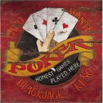 Poker Vintage Wood Game Room Sign