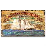 ISLAND CHARTERS Vintage Wood Advertising Sign