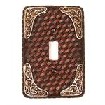 Faux Leather Basketweave Single Switchplate