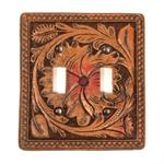 Faux Tooled Western Double Swicthplate Cover.