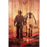 Cowboy and Horse Rustic Wood Western Decor Art 16x24