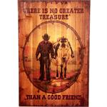 Cowboy and Horse Good Friend Rustic Wood Western Decor Art 16x24