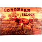 Longhorn Saloon Rustic Wood Western Decor Art 24x16