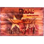 Longhorn TEXAS Rustic Wood Western Decor Art 24x16