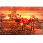 Longhorn Rustic Wood Western Decor Art 24x16