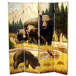 Bear hand painted room divider