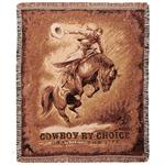 Bronc Rider Cowboy by Choice Throw Blanket