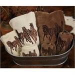 Horses Cream Embroidered Bath Towel Set (3) Pc