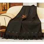 Laredo Star Embroidery Chocolate Mocha Luxury Throw Blanket Style 2018