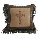 Cross Faux Suede Dark Tan Embroiderd Pillow P4 Style WS3182-D