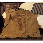 Cross Barbwire Faux Suede Dark Tan Embroidered Throw Blanket