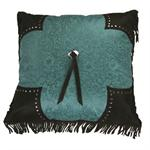 Cheyenne Faux Tooled Leather and Fringe Pillow Turquoise