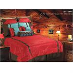 Cheyenne Red Faux Tooled Western Floral Bedding