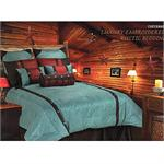 Cheyenne Faux Tooled Leather Western Duvet Turquoise