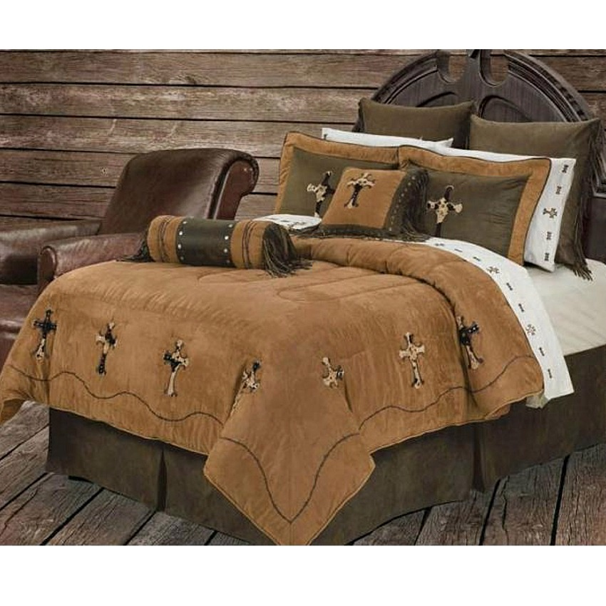 Cowhide Cross Western Bedding Comforter Set Super King