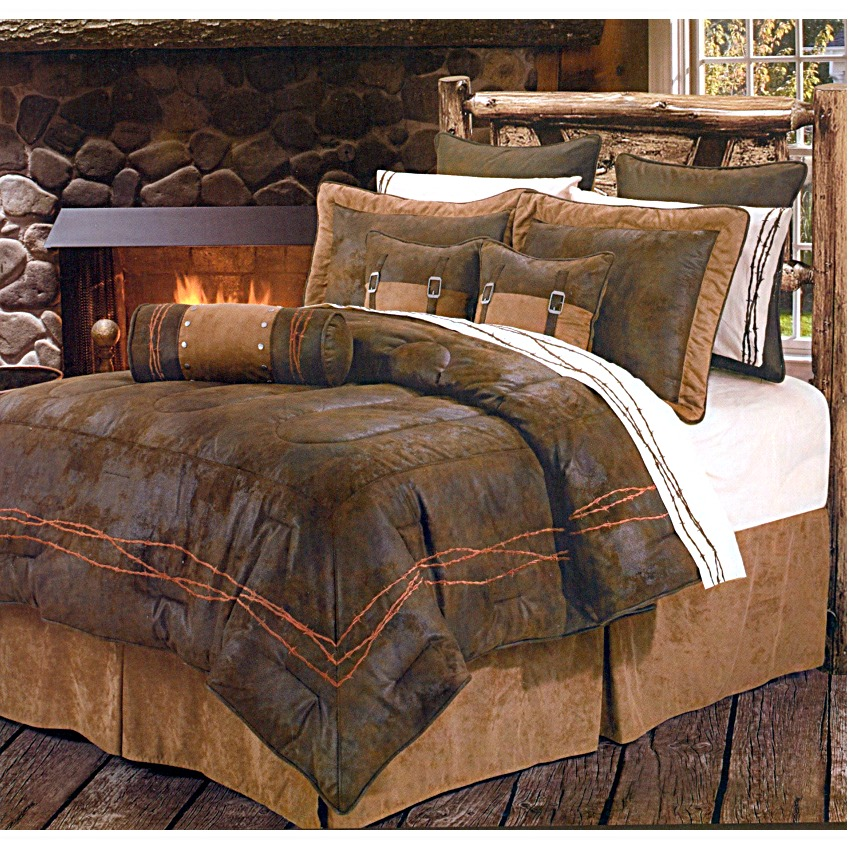 Ranch Barbwire Chocolate Western Bedding Comforter Set