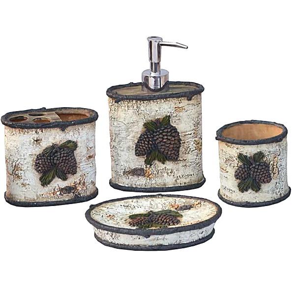 Rustic Bath Decor Pine Cone Bath Accessories Set
