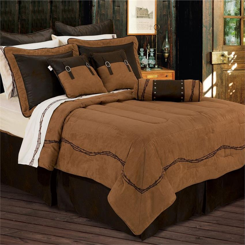 Ranch Barbwire Western Bedding Comforter Dark Tan
